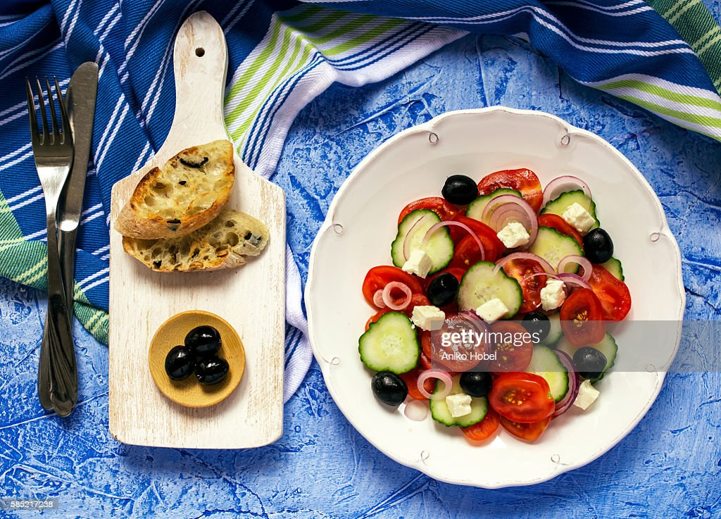 Greek salad top view : Stock Photo