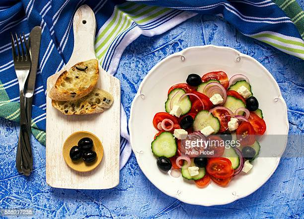 greek salad top view - feta cheese stock pictures, royalty-free photos & images