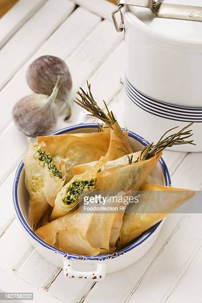 Greek samosas (feta-spinach filling and fig-walnut filling)
