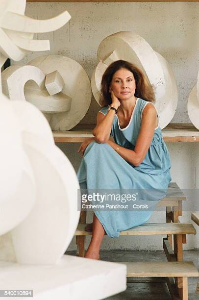 Greek sculptor Sofia Vari wife of Colombian artist Fernando Botero at her home of Pietrasanta in Italy