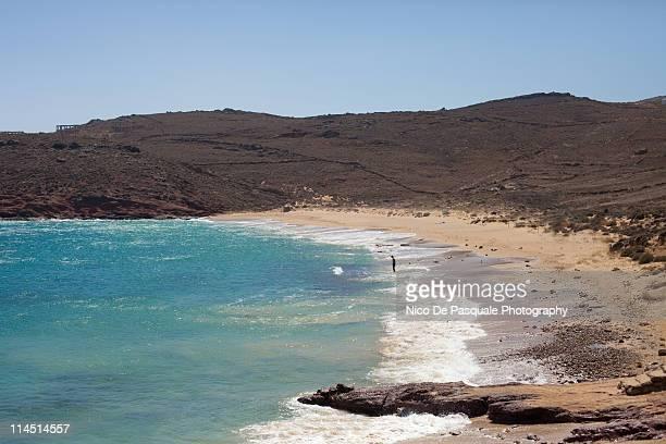greek sea and beach - ver a hora stockfoto's en -beelden