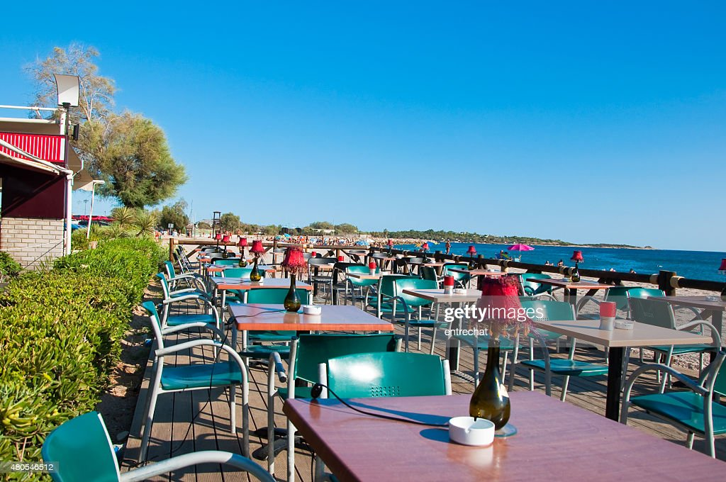 Greek seaside restaurant. : Stock Photo