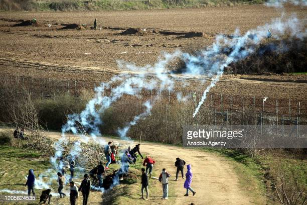 Greek security forces use tear gas and water cannon to disperse asylum seekers in the region between the Kastanies and the Pazarkule border gates on...