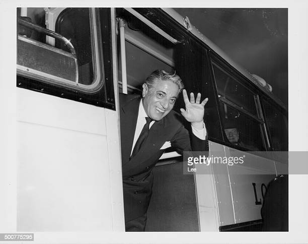 Greek shipping executive Aristotle Onassis waving as he arrives at London Airport, February 9th 1960.