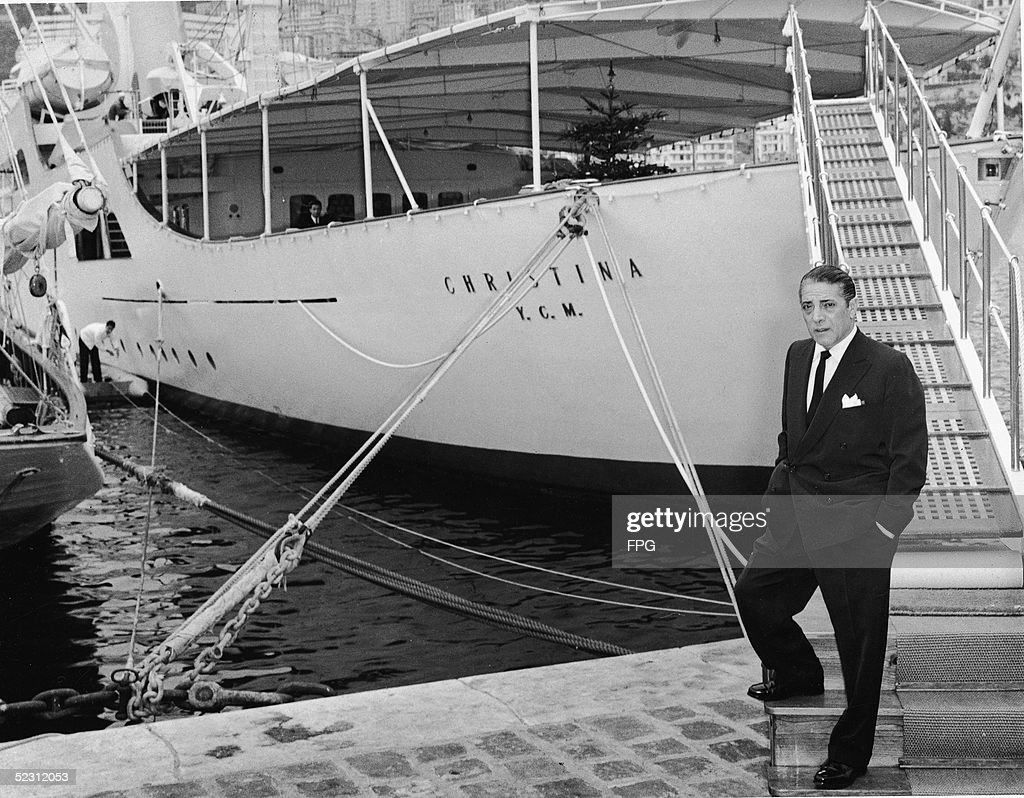 Aristotle Onassis On Dock In Front Of Yacht 'Christina O' : ニュース写真