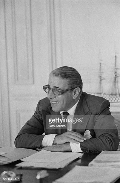 Greek shipping tycoon Aristotle Socrates Onassis in his Monte Carlo office Monaco 1958