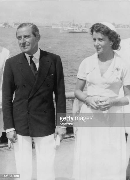Greek shipping tycoon Stavros Niarchos and his wife Eugenia the daughter of Stavros Livanos and sister of Athina Onassis circa 1960