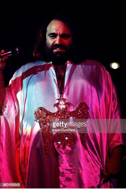 Greek singer Demis Roussos performing at the Belle Vue in Manchester 17th October 1976