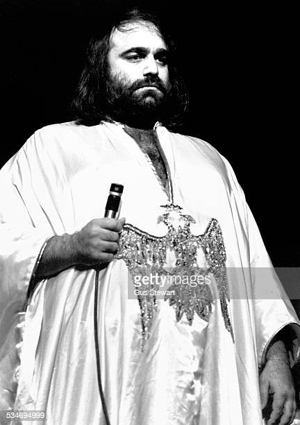 Greek singer Demis Roussos performs on stage in London circa 1976.