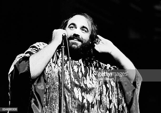 Greek singer Demis Roussos performs on stage in London circa 1976