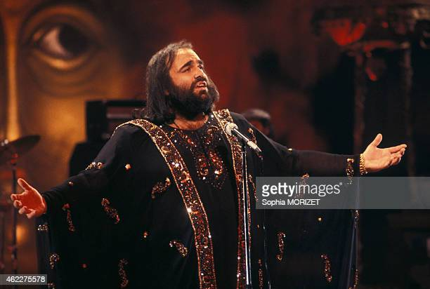 Greek singer Demis Roussos sings during a French tv show in Paris France on April 13 1978