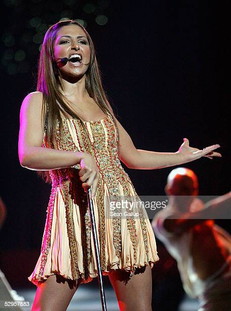 Greek singer Helena Paparizou performs at the dress rehearsal ahead of the Eurovision Song Contest Grand Final hosted by the previous year's winner...