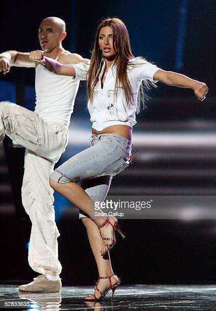 Greek singer Helena Paparizou performs at the first rehearsal for the Eurovision Song Contest at the Palace of Sports May 15 2005 in Kiev Ukraine...