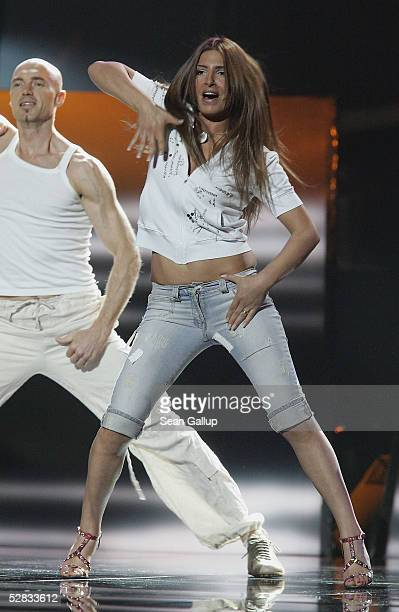 Greek singer Helena Paparizou sings at first rehearsal at the Eurovision Song Contest at the Palace of Sports May 15 2005 in Kiev Ukraine This year...