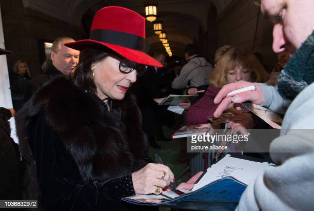 Greek singer Nana Mouskouri arrives at the 11th Hope Gala in Dresden Germany 12 November 2016 The gala will honour people who have distinguished...