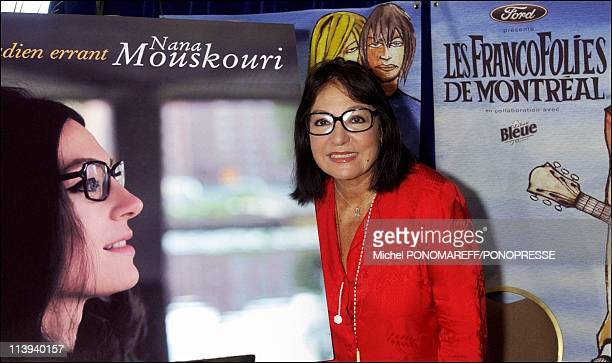 Greek singer Nana Mouskouri gives a press conference during the Francofolies In Montreal Canada On July 29 2004