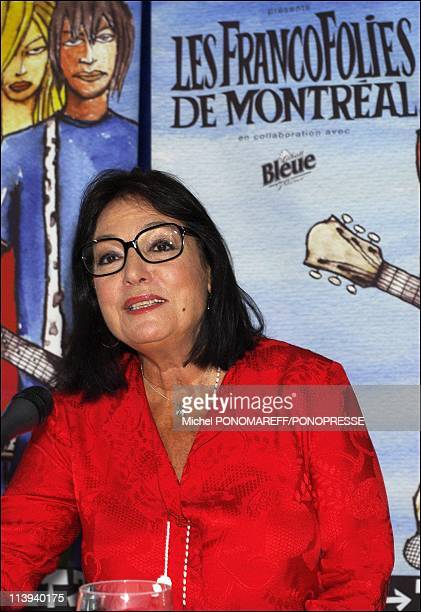 Greek singer Nana Mouskouri gives a press conference during the Francofolies In Montreal Canada On July 29 2004Nana Mouskouri