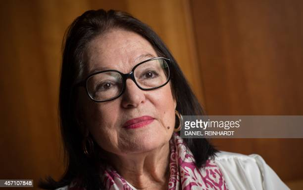 Greek singer Nana Mouskouri gives an interview to journalists on September 9, 2014 in Hamburg, northern Germany, where she will held a concert as...