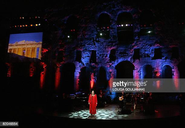 Greek singer Nana Mouskouri performs in a tribute farewell concert at the ancient Herodus Atticus theatre at the foot of the Acropolis on July 23...