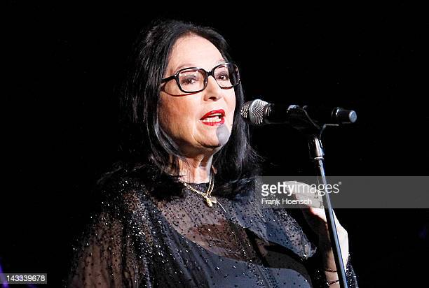 Greek singer Nana Mouskouri performs live during a concert at the Admiralspalast on April 24, 2012 in Berlin, Germany.