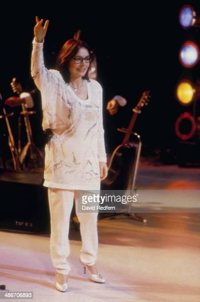Greek singer Nana Mouskouri performs live on stage circa 1980.