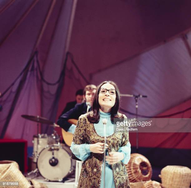 Greek singer Nana Mouskouri performs on her own BBC television show 'Nana Mouskouri' at BBC Television Centre in London circa 1971.