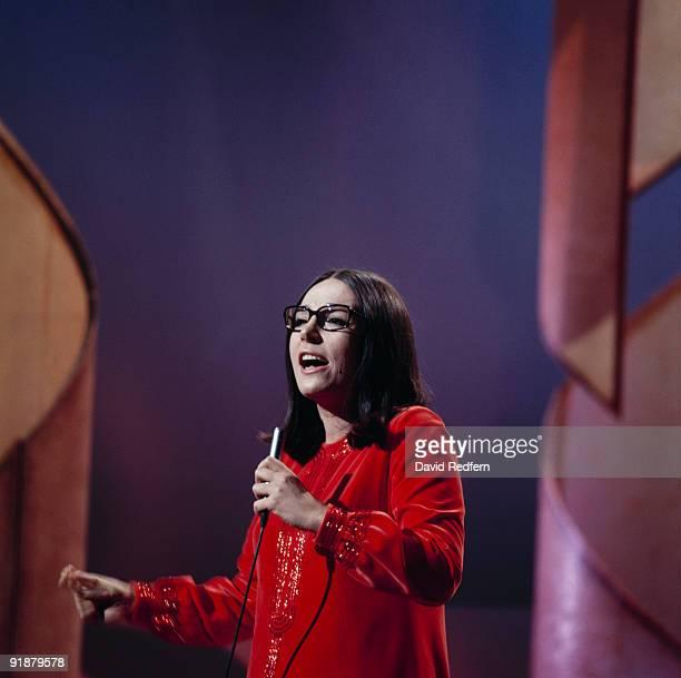 Greek singer Nana Mouskouri performs on her own BBC television show 'Nana Mouskouri' at BBC Television Centre in London circa 1971.