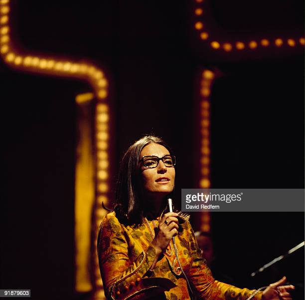 Singer Nana Mouskouri performs on stage in the 1970's