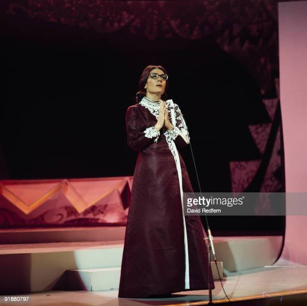 Greek singer Nana Mouskouri performs on her own BBC television show 'Nana Mouskouri' at BBC Television Centre in London circa 1972.