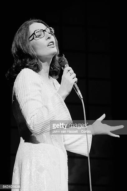 Greek singer Nana Mouskouri performs on stage at the Olympia.