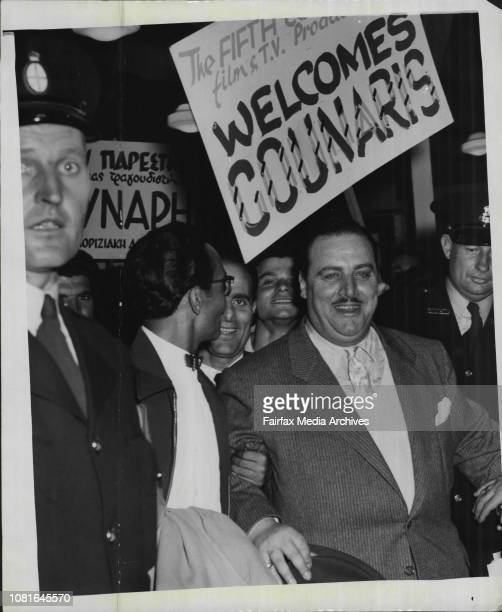 Greek singer Nikos Gounaris modeled by Sydney Greeks when he arrived at Mascot March 06 1957