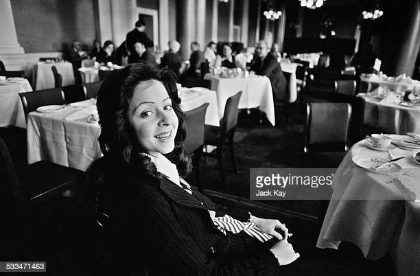 Greek singer Vicky Leandros enjoying breakfast in Princes Street after her success at the Eurovision Song Contest Edinburgh 26th March 1972