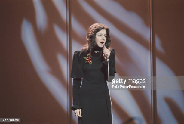 Greek singer Vicky Leandros performs the song 'Apres toi' for Luxembourg to finish in first place to win the 1972 Eurovision Song Contest in...