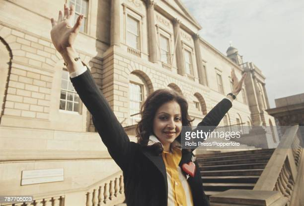 Greek singer Vicky Leandros raises her arms in the air in celebration after winning the 1972 Eurovision Song Contest for Luxembourg with the song...