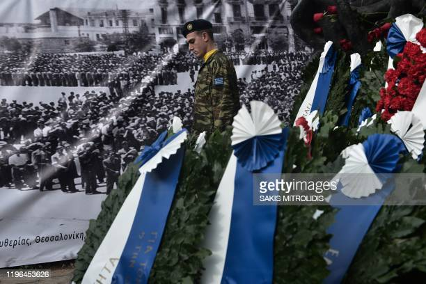 Greek soldier stands next the Holocaust Memorial monument downtown Thessaloniki on January 26 during the International Holocaust Remembrance Day...