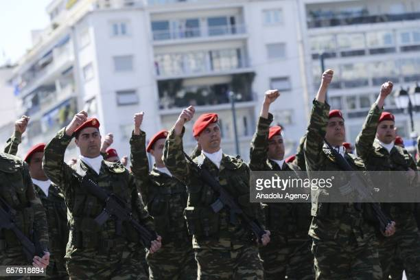 Greek soldiers attend a military parade during the Greek Independence Day at Syntagma Square Athens Greece on March 25 2017