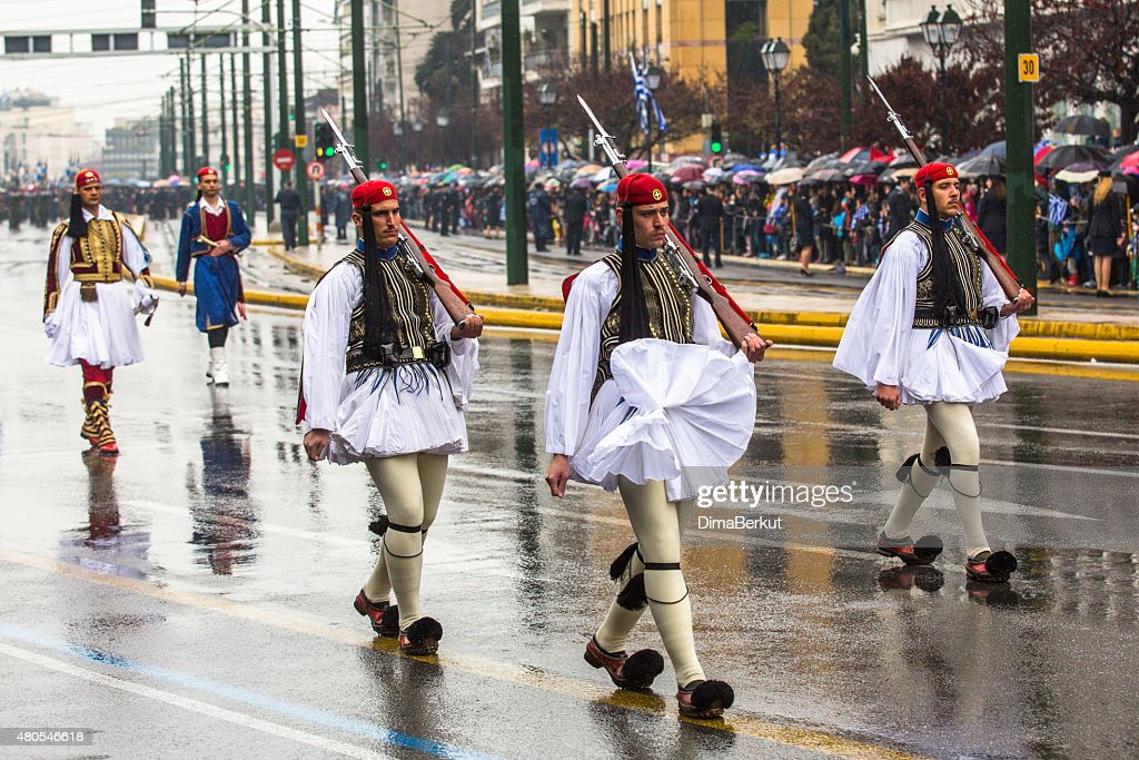 Greek soldiers Evzones dressed in full dress uniform : Stock Photo