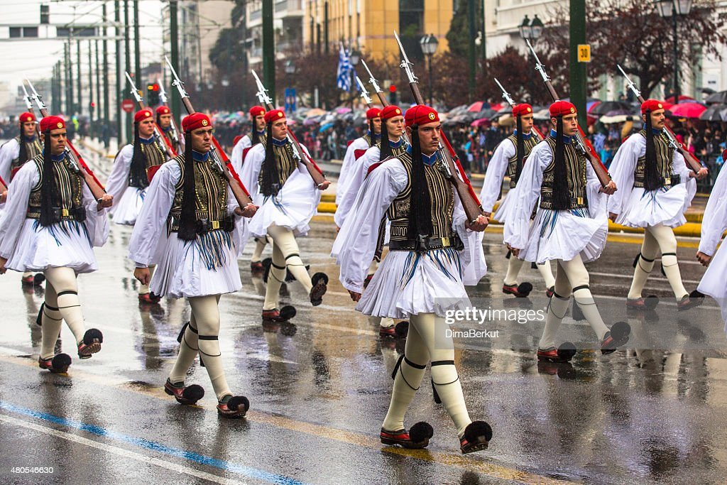 Greek soldiers Evzones in full dress uniform during Independence Day : Stock Photo