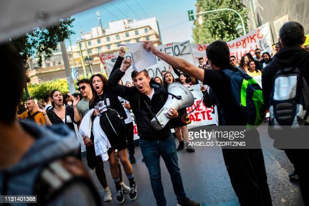 Greek students protest against the reform plans over the university entrance system in Athens on March 18 2019
