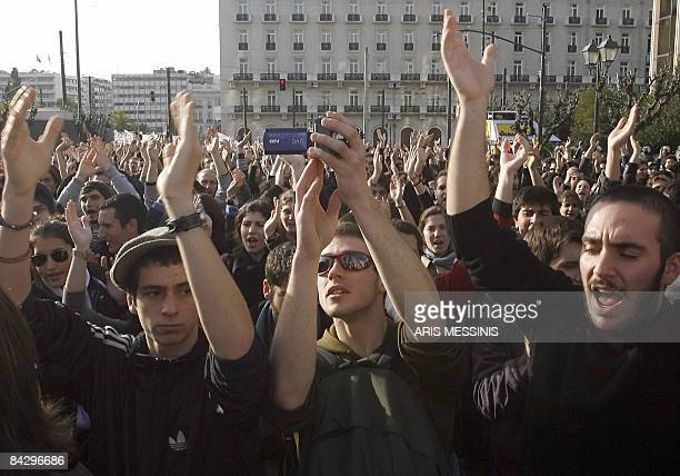 Greek students shout slogans while marching towards Greek Parliament in central Athens on January 15 2009 Some 1000 students protested today against...