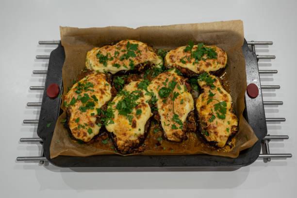Greek stuffed aubergine - Melitzanes Papoutsakia
