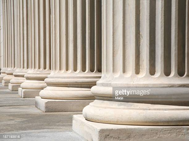 Greek style columns in front of a courthouse