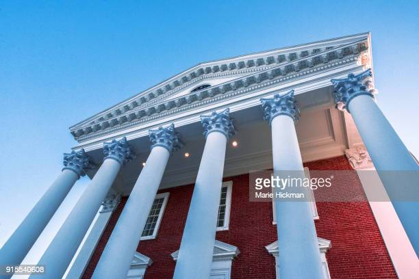Greek style front of the famous ROTUNDA at Charlottesville, Virginia, center of the University of Virginia campus designed by Pres. Thomas Jefferson