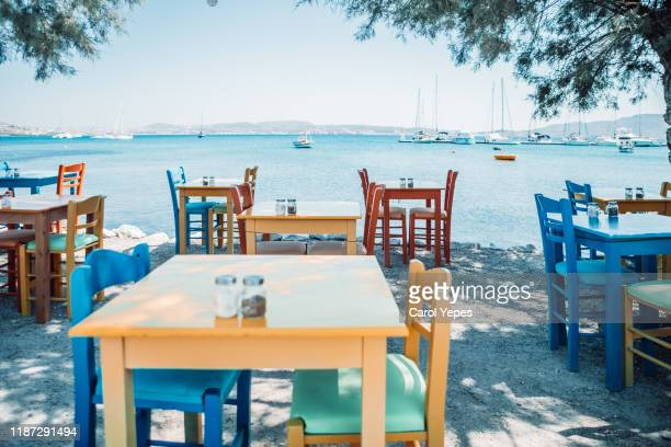 greek tavern in greek island,greece - greece stock pictures, royalty-free photos & images