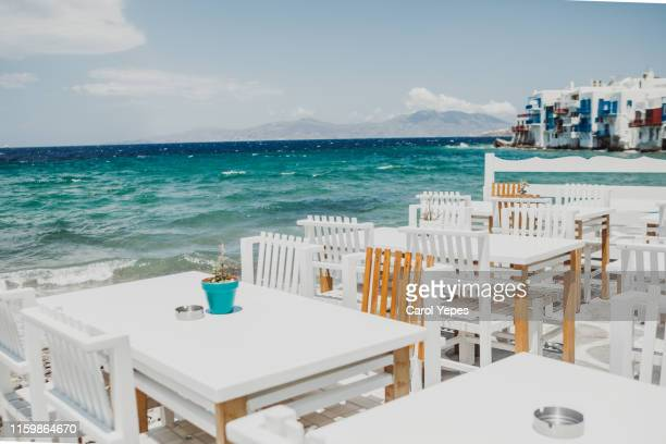 greek tavern in little venice,mykonos,greece - cyclades islands stock pictures, royalty-free photos & images