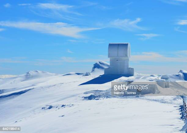 greek telescope at the top of the mountain helmos at kalavrita - greece - peloponnese stock photos and pictures