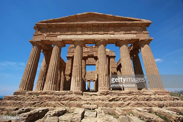 greek temple in agrigento's valley of the temples - agrigento stock pictures, royalty-free photos & images