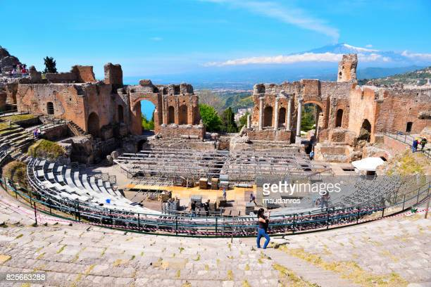 greek theater  taormina, italy (editorial) - giardini naxos stock pictures, royalty-free photos & images