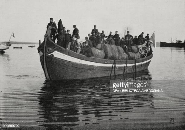 Greek troops landing in Preveza Greece First Balkan War from L'Illustrazione Italiana Year XL No 8 February 23 1913