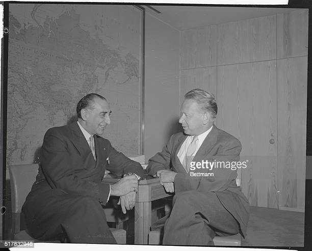 Greek U.N. Delegate Christian X. Palamas , is pictured with U.N. Secretary-General Dag Hammarskjold, as he formally requested that the Cyprus issue...